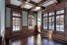 Top 50 Best Coffered Ceiling Ideas - Sunken Panel Designs Traditional Homes Wood Beams Coffered Ceil Wood Ceilings, Ceiling Beams, Coffered Ceilings, Classy Closets, Window Casing, Ceiling Treatments, Wood Beams, Ceiling Design, Traditional House