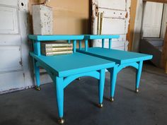 TURQUOISE Mid century end tables or night by TheVintageGoodyShop, $195.00