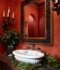 cute idea to dress up the restroom for Christmas Christmas Bathroom Decor, Bathroom Decor Sets, Bathroom Ideas, Bathroom Plants, Bathroom Pictures, Design Bathroom, Bathroom Renovations, Bathroom Inspiration, Tuscan Decorating