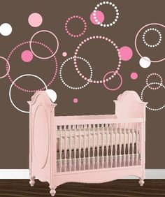 Pink & white circles decal for nursery