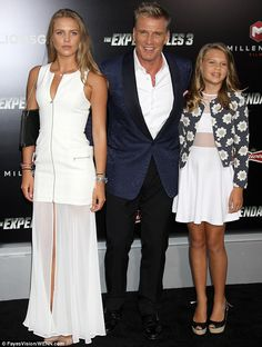 The Swedish actor arrived at the Hollywood premiere of his film The Expendables 3 on Monday evening alongside his daughters Ida, and Greta. Hollywood Actor, Hollywood Stars, Dolph Lundgren Grace Jones, Mr Olympia Winners, Celebrity Couples, Celebrity Style, The Expendables, Sylvester Stallone, Guy Pictures