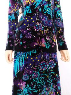 Vintage 1960's Mr. DiNo Women's VeLveT PsYcHeDeLiC PeAcoCk HiPPiE Maxi Skirt & Jacket - Couture Outfit Dress M 12 on Etsy, $544.99