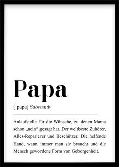 Daddy Definition / Poster Gift for Dad You& .- Papa Definition DIN Poster Geschenk für Vater Du wirst Papa Schwangerscha… Daddy Definition / Poster Gift for Dad You& going to Daddy Pregnancy Announcement First Child Father& Day Gift for Dad - First Time Dad, Father Birthday, Gifts For Father, Definitions, About Me Blog, Etsy, A4 Poster, Printable Poster, Gift Ideas