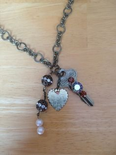 Key to my heart necklace, antique gold, vintage key adorned with vintage jewelry and charms on Etsy, $12.00