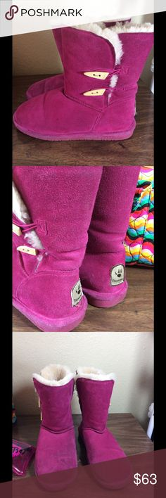 BEARPAWS Boots Raspberry Color// no tears or rips// a bit dusty//Excellent used Condition. Bearpaw Shoes Ankle Boots & Booties
