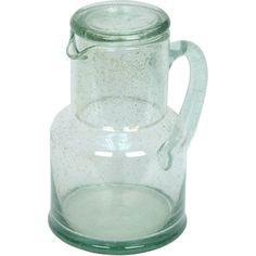 Pitcher w/Stacking Tumbler Lid Bubble Recycled Glass