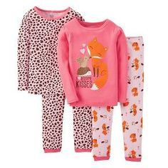 Just One You™ Made by Carter's® Toddler Girls' 4-Piece Mix & Match Fox Pajama Set