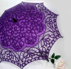 Passion Purple Parasol Battenburg Lace Victorian Sun Umbrella Chic Vintag Bride #ParasolHeaven #SunParasol