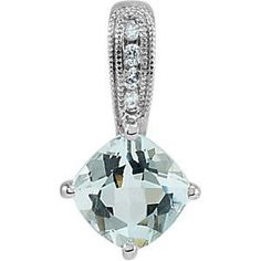 14k White Gold Aquamarine & Diamond Pendant Necklace