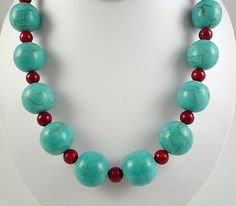 Turquoise Coral Neckace Large Bead Necklace by BlueIrisJewelry, $34.00