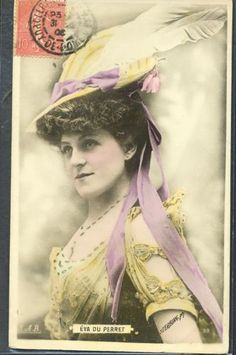 PG145-ARTIST-STAGE-STAR-EVA-DU-PERRET-Large-FEATHER-HAT-Tinted-PHOTO-pc-STEBBING