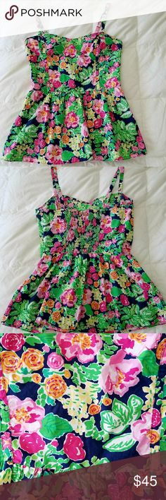 Lilly Pulitzer Peplum Top size 8 Beautiful!!!!!!!!! EUC size 8 with side zipper, adjustable straps and elastic in back for more stretch! Perfect addition to your summer wardrobe! Open to offers Lilly Pulitzer Tops Tank Tops