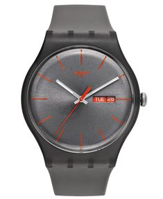 Swatch Watch, Unisex Swiss Warm Rebel Gray Silicone Strap 41mm SUOM702 - Men's Watches - Jewelry & Watches - Macy's