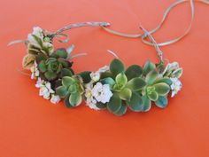 The classic flower crown, is now re-created with succulents, celebrate your special day with a succulent crown that can be replanted.    Created with 7 2-inch succulents