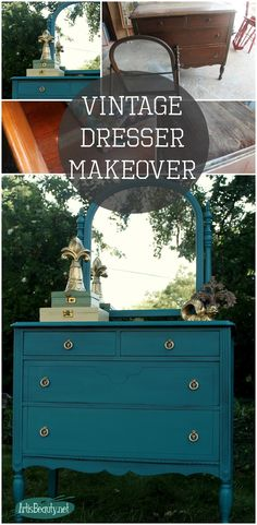 "ART IS BEAUTY: ""Estherbelle"" Blue dresser makeover and winner of the COUNTRY LIVING FAIR tickets!"