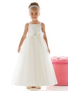 Dessy Style is a full length flower girl dress with a matte satin bodice, tulle ballerina skirt, and spaghetti straps. There is a flower detail with Swarovski rhinestone center at empire waist. Flower Girl Style is made of matte satin and tu Tulle Flower Girl, Wedding Flower Girl Dresses, Organza Flowers, Fall Wedding Dresses, Bridesmaid Dresses, Prom Dresses, Flower Girls, Princess Flower, Dresses 2014