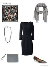 black dress with silver and grey accessories
