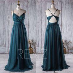 2017 Dark Turquoise Bridesmaid Dress Open Back Wedding Dress