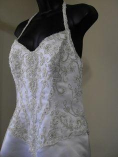 PC Marys Halter Crystal Bling Bodice Wedding Bridal Gown Dress Size 10