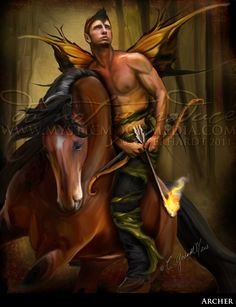 ARCHER... Warrior Fay... Men Fairy Picture Art... 5x7 Matted Print... Fantasy Art... Horse...Forest...Handsome Masculine Male Fairy. $15.00, via Etsy.