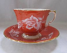 Aynsley Cup and Saucer in Orange with White Roses
