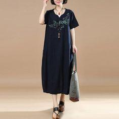 e5ef2e657f41 Embroidered Short Sleeve Women Summer Dress - Buykud
