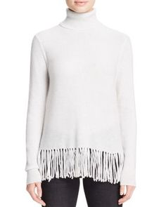 AQUA Cashmere Fringe Trim Turtleneck Cashmere Sweater   Bloomingdale's