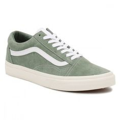 Womens Green True White Retro Sport Old Skool Trainers ($78) ❤ liked on Polyvore featuring shoes, sneakers, white shoes, retro shoes, white low top shoes, sport trainer and white sports shoes