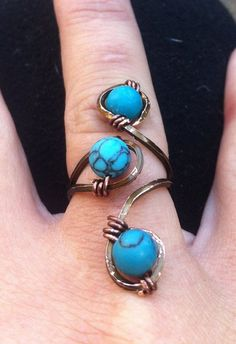 Turquoise and Antiqued Copper Wire-wrapped Adjustable Ring on Etsy, $15.00: