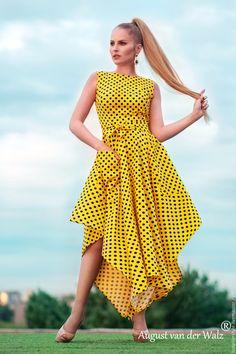 """Купить """"Прелесть"""" Летнее платье с ассиметричной юбкой и карманами - желтый, летнее платье, макси платье"""