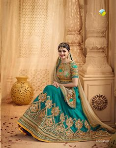 Green and beige designer party wear lehengha. Look so amazing Indian Dresses, Indian Outfits, Lehenga Blouse, Saree, Girl Photography Poses, Bridal Lehenga, Embroidered Blouse, India Beauty, Celebrity Weddings