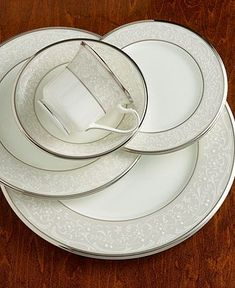"Noritake ""Silver Palace"" Place Setting - Fine China - Dining & Entertaining - Macy's Bridal and Wedding Registry Vintage Dishes, Vintage China, Vintage Pyrex, Cocinas Color Chocolate, Fine China Patterns, China Tea Sets, Dinner Sets, Dinner Ware, Dinner Plates"