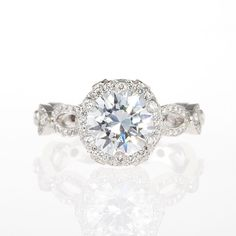 """Brides.com : Unique Engagement Ring Settings. """"Annalise"""" platinum and diamond engagement ring, $13,000 (center stone not included), Erica Courtney  See more Erica Courtney rings."""