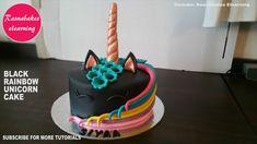 Black rainbow rose gold unicorn birthday cake ideas design decorating tu...
