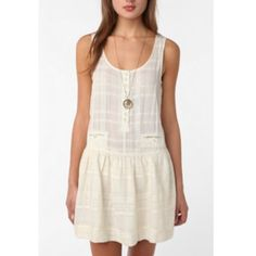 UO Staring at Stars Sparkling Dropwaist Sundress S Gorgeous!!! Staring at stars from Urban Outfitters size Small ivory with metallic threading button pocket drop waist sundress.     NO TRADES.    OFFERS ALWAYS WELCOME! Urban Outfitters Dresses Midi