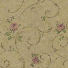 Bronze Floral Scroll Wallpaper