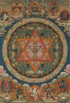 Tibetan Buddhist Thangka of Vajrayogini Mandala Central Tibet, century Tibetan Mandala, Tibetan Art, Tibetan Buddhism, Buddhist Symbols, Buddhist Art, Tibetan Symbols, Mandala Art, Mandala Drawing, Religion
