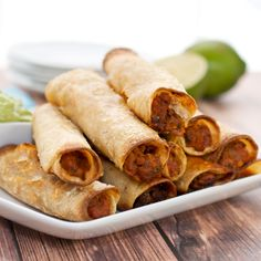 Bean and Beef Taquitos with Avocado Sauce {Sweet Pea's Kitchen}