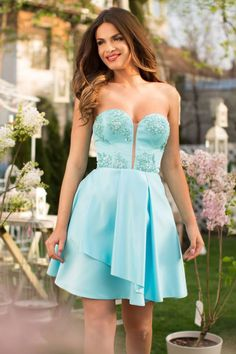 Short turquoise occasion dress made from taffeta and lace: https://missgrey.org/en/dresses/short-occasion-dress-with-turquoise-taffeta-and-precious-embroidery-joy/527?utm_campaign=mai&utm_medium=rochie_joy_turcoaz&utm_source=pinterest_produs
