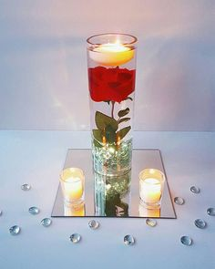 Floating Candle Centerpiece Rose Centerpiece Beauty And The Beast Wedding Centerpiece Wedding Decor Bridal Shower Decoration Red Decor wedding centerpieces Quince Decorations, Quinceanera Decorations, Wedding Table Decorations, Bridal Shower Decorations, Floating Candle Centerpieces, Rose Centerpieces, Votive Candles, Diy Beauty And The Beast Centerpieces, Diy Beauty And The Beast Party