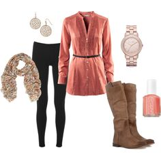 A fashion look from December 2011 featuring H&M blouses, Splendid leggings and Frye boots. Browse and shop related looks.