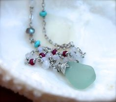 Sea Glass Jewelry from Hawaii #seaglass #aqua #gems