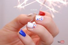 Fourth of July - Dotticure Easy Nail art for Beginners with Short Nails - Memorial Day