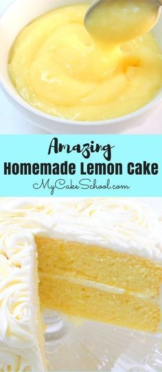 Lemon Cake from Scratch Moist and Delicious Lemon Cake Recipe from Scratch by ! Flavorful homemade lemon cake layers with lemon curd filling and lemon cream cheese frosting! Köstliche Desserts, Lemon Desserts, Lemon Recipes, Baking Recipes, Dessert Recipes, Drink Recipes, Summer Cake Recipes, Kitchen Recipes, Smoothie Recipes