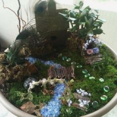My daughter and I made this fairy garden from things we found around the house. An old bird bath with metal stand we found in the shed, Real moss from a shady spot, crushed glass from Mexico my son brought back from spring break. we made a fairy bed, bench, and bridge from a glue gun and twigs found in our backyard. Used silk flowers from an old arrangement and succulents from a gift basket last year. Loved the fact it was all FREE! The best part, a great day with my sweet little girl!