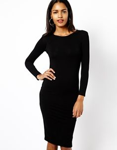 River Island Longsleeve Shoulder Pad Column Dress