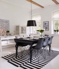 Just love the suspended chair! The post Dreamy Danish farm with modern details appeared first on Daily Dream Decor. Black Dining Room Table, Home And Living, Decor, Black Dining Room, Dream Decor, Home, Interior, Home Decor Styles, Home Decor