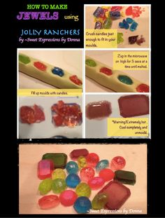 SO BRILLIANT  How to make Jewels from jolly rancher candies and microwaveable moulds.