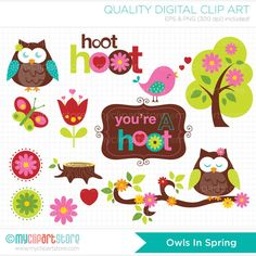 Owls in Spring Clip Art / Digital Clipart  by MyClipArtStore, $5.00
