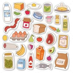 by Vectorssstocker Everyday food icons patchwork. Set of common goods and everyday products we get by shopping in supermarket. Patch food breakfast o Food Stickers, Journal Stickers, Printable Stickers, Cute Stickers, Planner Stickers, Preschool Learning, Preschool Activities, Teaching Kids, Dementia Activities